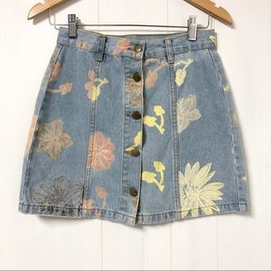 Vintage Style Floral Print Denim Mini Skirt Size M